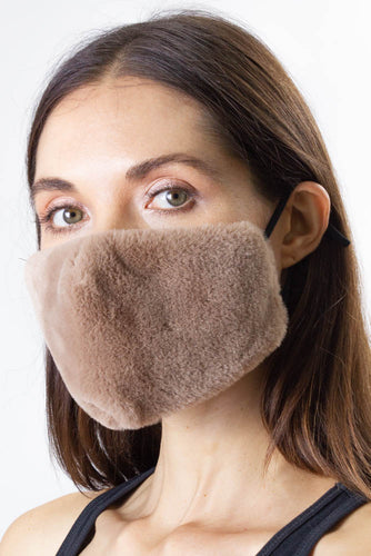 Solid Faux Mink Fur Facemask Covering - Just Jamie