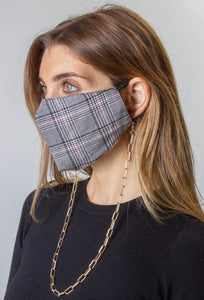 Plaid / Solid Black Face Covering with Gold Chain -2pc pack - Just Jamie