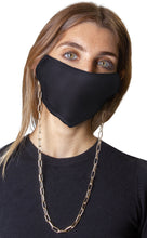 Load image into Gallery viewer, Plaid / Solid Black Face Covering with Gold Chain -2pc pack - Just Jamie