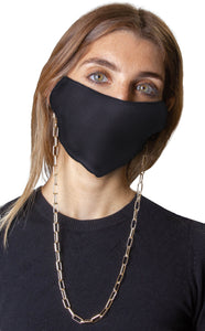 Snakeskin / Solid Black Face Covering with Gold Chain -2pc pack - Just Jamie