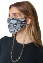 Load image into Gallery viewer, Snakeskin / Solid Black Face Covering with Gold Chain -2pc pack - Just Jamie