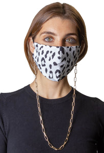 Animal / Solid Black Face Covering with Gold Chain -2pc pack - Just Jamie