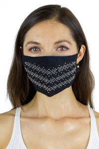 Rhinestone Row Bling / Solid Black Face Covering -2pc pack - Just Jamie