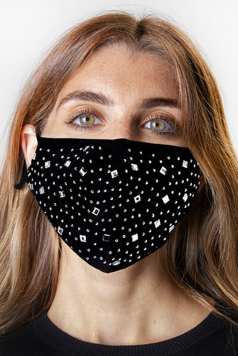 Rhinestone Bling / Solid Black Face Covering -2pc pack - Just Jamie