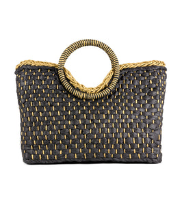 Woven Straw Bag with Circular Handle - Just Jamie