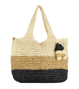 Tonal Colorblock Striped Straw Bag with Tassels - Just Jamie
