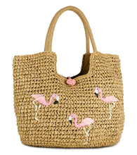 Load image into Gallery viewer, Flamingo Straw Tote Bag - Just Jamie