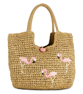 Flamingo Straw Tote - Just Jamie
