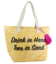 Load image into Gallery viewer, Drink in Hand Toes in Sand Insulated Tote Bag - Just Jamie