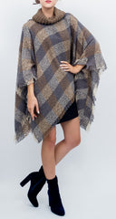 Checkerbox Plaid Turtleneck Poncho - Just Jamie