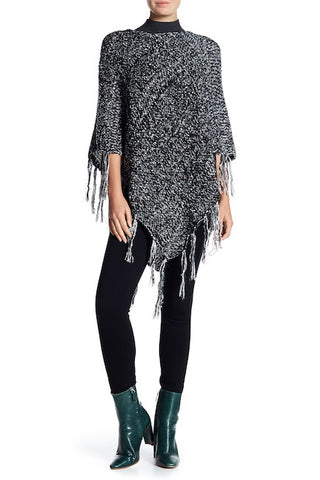 Chunky Knit Marled Poncho with Tassel Ends
