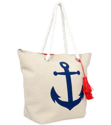 Graphic Tote with Tassel Charm