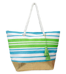 Bright Striped Tote with Tassel