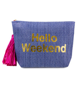 Hello Weekend Paper Straw Bag - Just Jamie