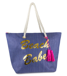 Beach Babe Paper Straw Beach Bag with Rope Handle and Tassel - Just Jamie