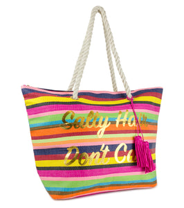 Salty Hair Don't Care Tote with Tassels - Just Jamie