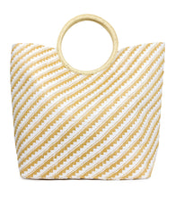 Load image into Gallery viewer, Two Tone Paper Straw Beach Tote Bag with Circular Handle - Just Jamie