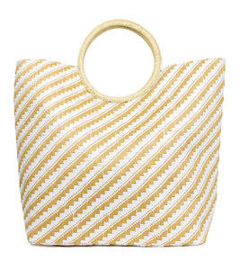Two Tone Paper Straw Beach Tote Bag with Circular Handle - Just Jamie