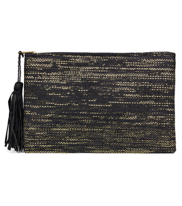 Solid Beach Clutch with Metallic and Tassel - Just Jamie