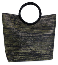 Load image into Gallery viewer, Paper Straw Solid Metallic Bag with Circular Handle - Just Jamie