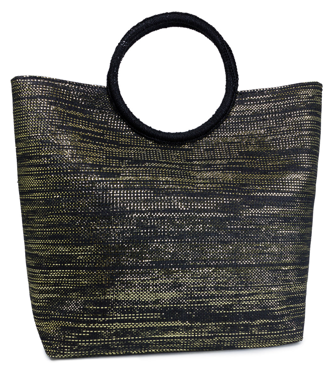 Paper Straw Solid Metallic Bag with Circular Handle - Just Jamie