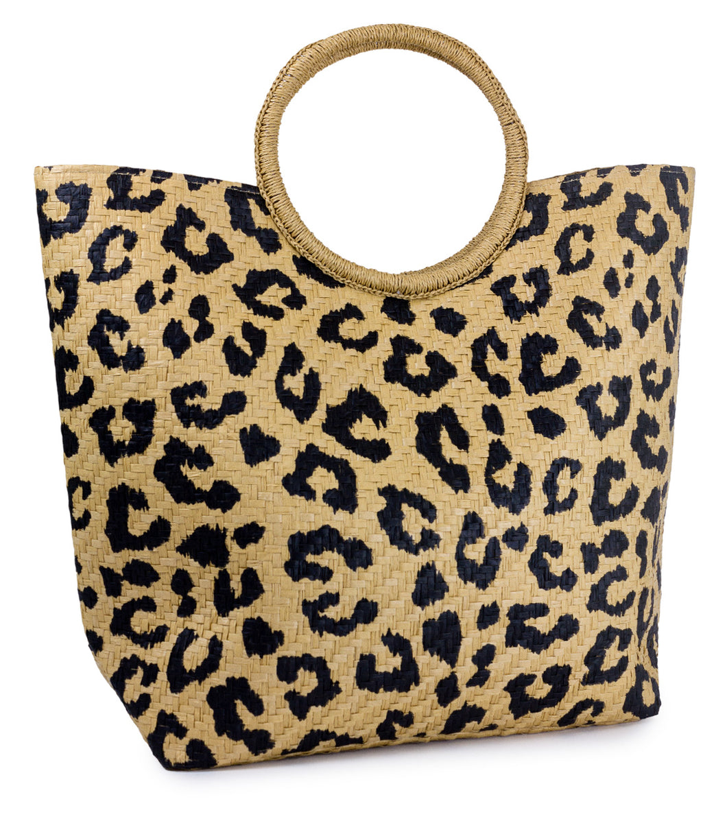 Animal Print Paper Straw Bag with Circular Handle - Just Jamie