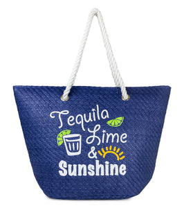 Tequlia, Lime and Sunshine Beach Tote with Tassels - Just Jamie