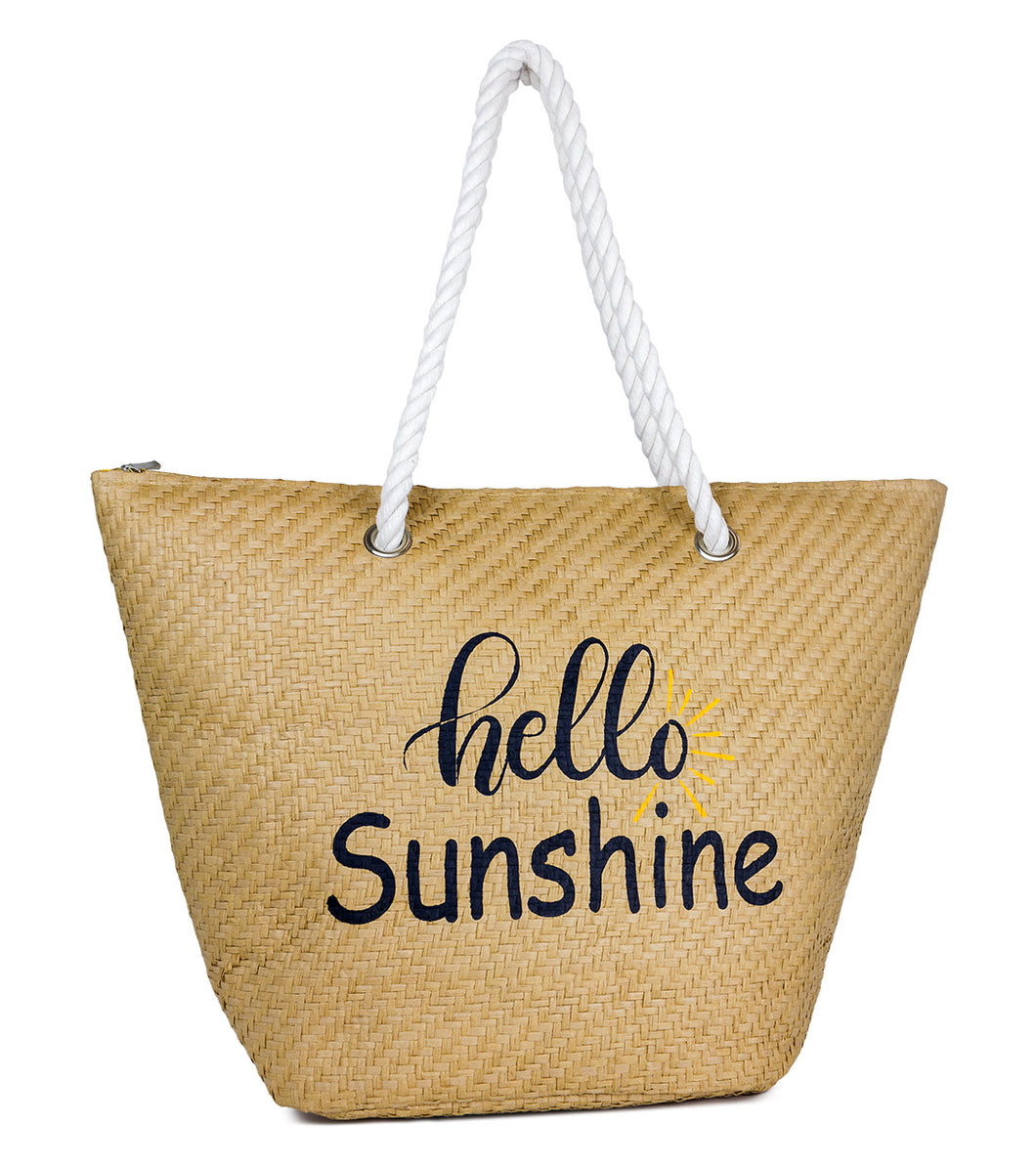 Hello Sunshine Paper Straw Beach Tote Bag with Rope Handle - Just Jamie