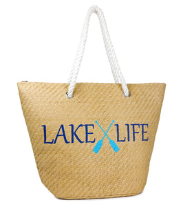Lake Life Beach Tote with Tassels - Just Jamie