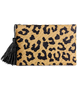 Leopard Print Straw Beach Clutch - Just Jamie