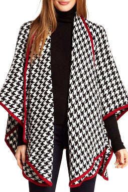 Houndstooth Knit Ruana with Crimson Red Trim