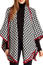 Load image into Gallery viewer, Houndstooth Knit Ruana with Crimson Red Trim - Just Jamie