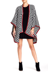 Houndstooth Ruana with Faux Leather Trim - Just Jamie