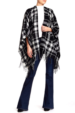 Plaid Blanket Wrap Ruana - Just Jamie