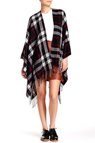 Plaid Blanket Wrap Ruana