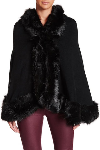 Faux Fur Border Solid Shawl - Just Jamie