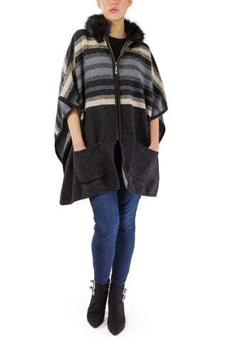 Striped Brushed Pocket Ruana with Faux Fur Hood and Zipper - Just Jamie