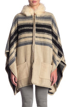 Load image into Gallery viewer, Striped Brushed Pocket Ruana with Zipper an Faux Fur Hood - Just Jamie