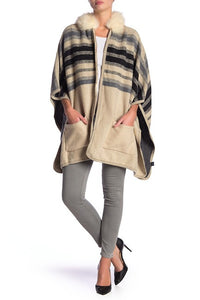 Striped Brushed Pocket Ruana with Zipper an Faux Fur Hood - Just Jamie