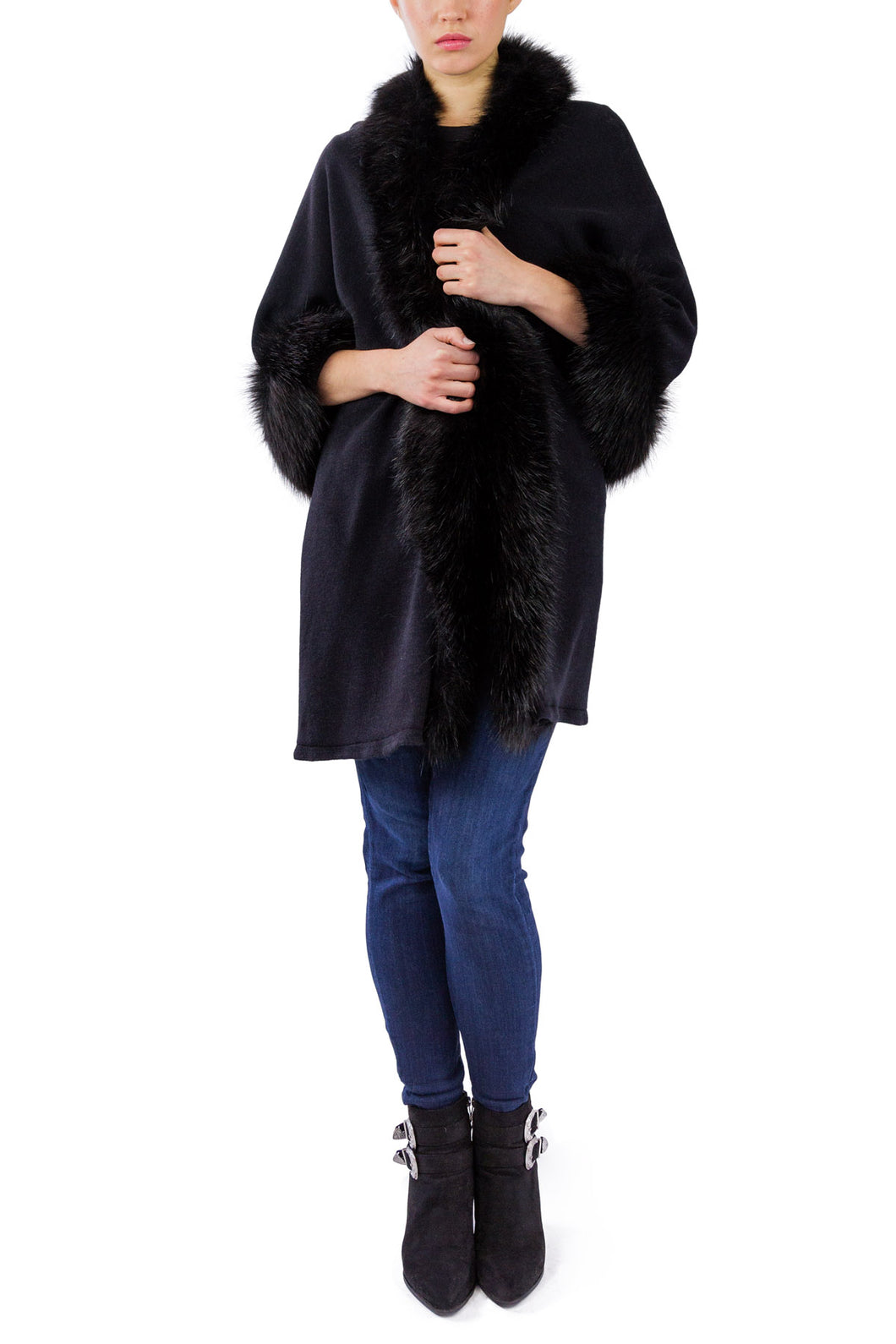 Faux Fur Border Ruana - Just Jamie