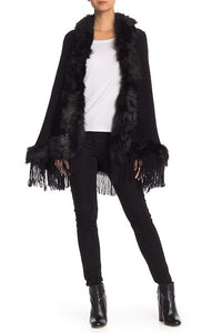 Faux Fur Border Solid Ruana with Hood and Fringe - Just Jamie