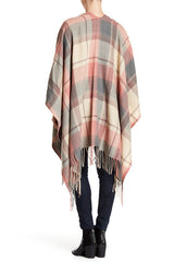 Plaid Ruana with Fringe