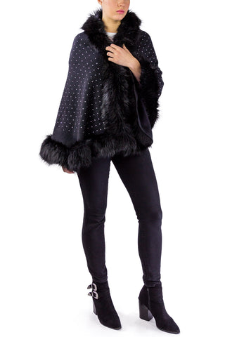 Embellished Faux Fur Shawl - Just Jamie