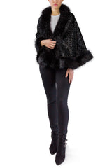 Sequin Faux Fur Border Shawl - Just Jamie