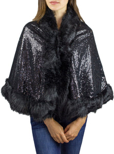Embellished Sequin Faux Fur Shawl - Just Jamie