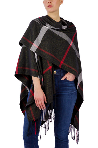 Supersoft Plaid Ruana with Lurex - Just Jamie