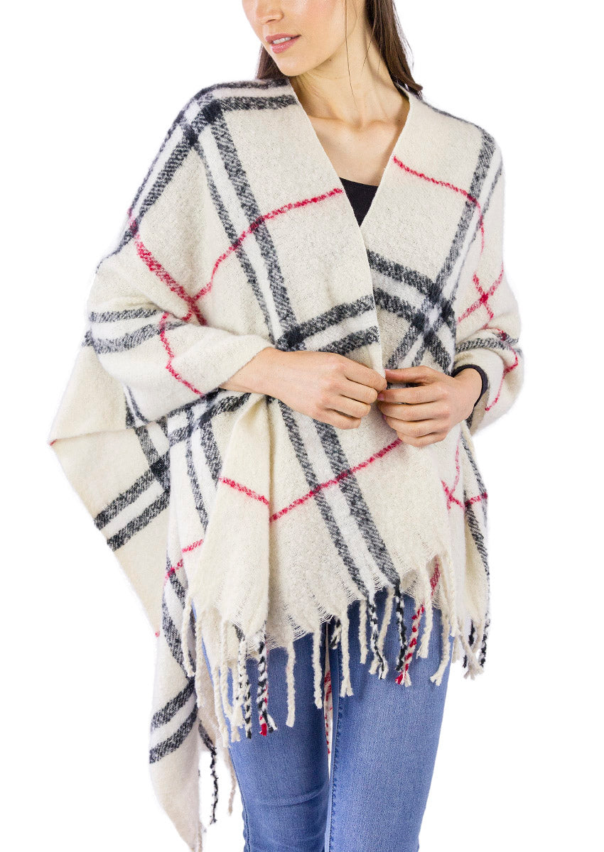 Plaid Boucle Ruana with Fringe - Just Jamie