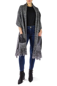 Chunky Knit Pocket Shawl with Lurex and Thick Fringe - Just Jamie