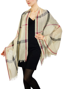 Plaid Metallic Striped Shawl - Just Jamie
