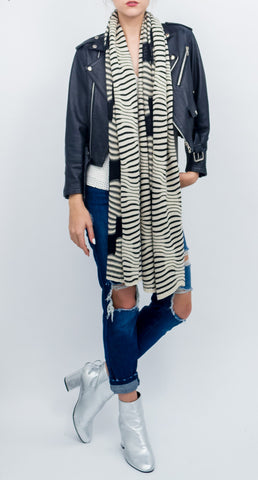 Wavy Knit Stripe Oblong Shawl